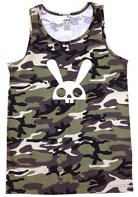 (NEW MEN'S PRINTED SKULL BUNNY PRO-5 CAMOUFLAGE MMA ARMY COTTON CAMO TANK TOP)