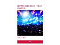 3x 2day gold camping Creamfields