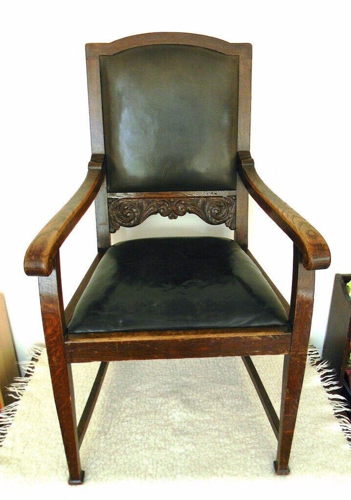 Antique Chair German Oak Carved Wooden