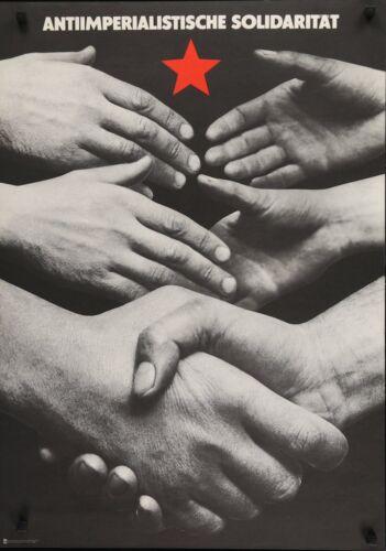 ANTI IMPERIALIST SOLIDARITY 1981 East German propaganda politics poster NM