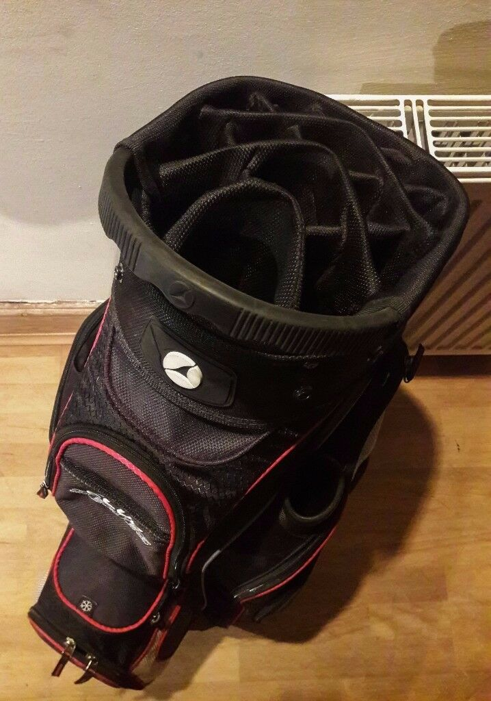 Motorcaddy Black/Red Near Mint Condition Water Proof Club Series Golf Bag & Cover