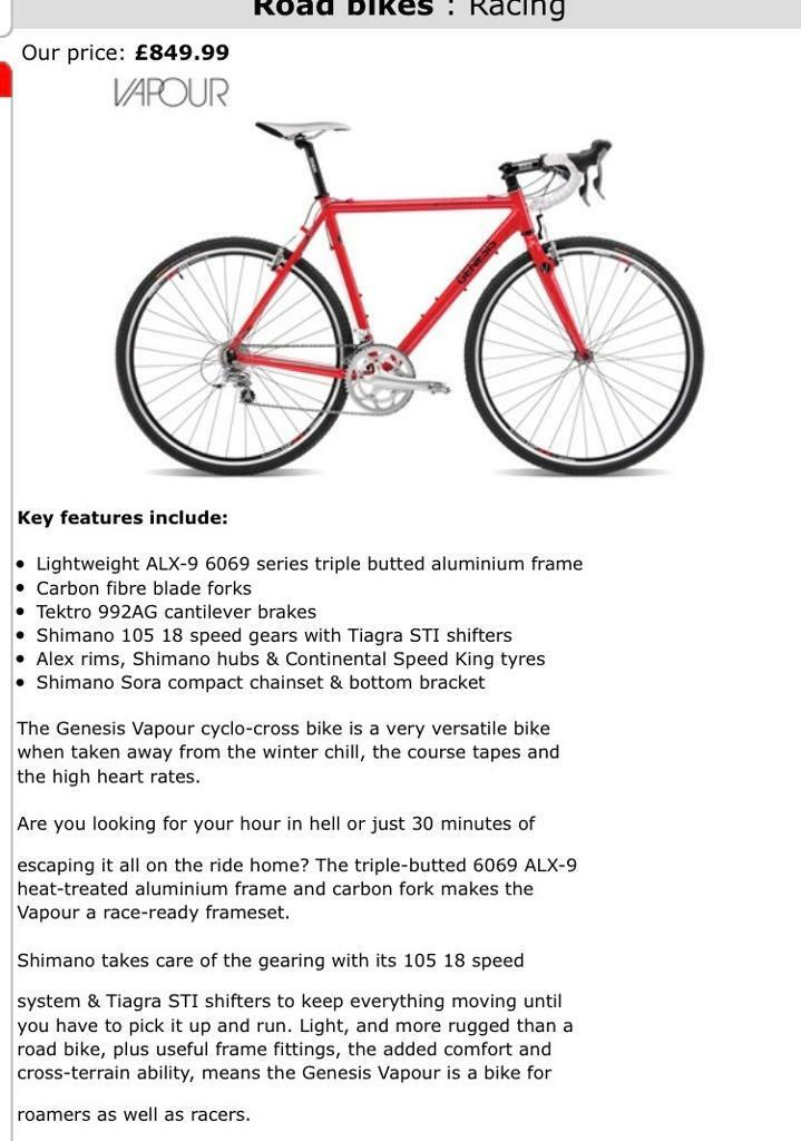Genesis Vapour cycling bike 58cm | in Whitechapel, London | Gumtree