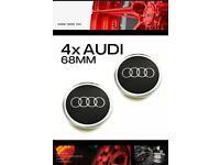 Original Set Of 4 Black Audi Alloy Wheel Hub Centre Caps 68 MM A3 A4 A6 A8 TT X 4