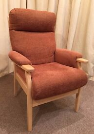 High Back Easy Chair- Armchair - Orange Fabric - Light Wood