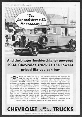 1934 Chevrolet Grocery Delivery Truck Art  Six Cylinders  Vintage Promo Print Ad