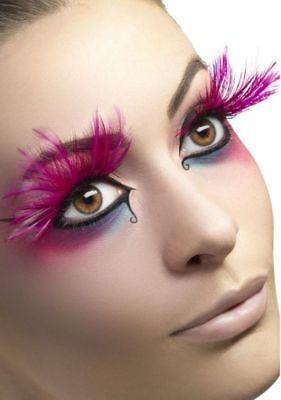 Fever Collection Eyelashes Party Pink Long Feathers Fake False Lashes W Adhesive - Feather Fake Eyelashes