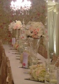 CENTREPIECES WITH THE **WOW** FACTOR! FLORAL RUNNERS!!CAKE TABLE!!SWEET HEART TABLE!!HEAD TABLE!!