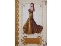 Classy Handmade Decoupage Birthday Card (Lady in a Golden Gown)