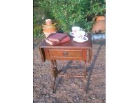 VINTAGE / REPRO DROP LEAF SMALL SIDE TABLE with drawer / LAMP TABLE / Veneer wood - claw feet