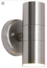 2 stainless steel outside lights