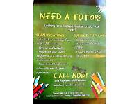 Tuition from £10 an hour £15 for two hours
