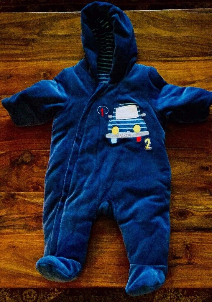 Cosy Blue Mothercare Snowsuit, 0-3mths, up to 14.5lbs