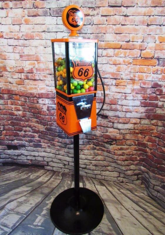 gumball machine candy dispenser PHILLIPS 66 gas pump original coin up + stand