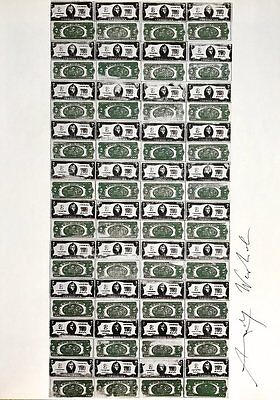 """Andy Warhol, """"EIGHTY TWO-DOLLAR BILLS"""" Hand signed print in Silver pen w/COA"""