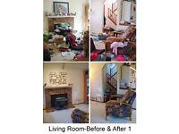 Professional organisation, re arranging and cleaning room/house.