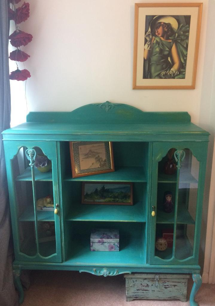 Vintage Antique Painted Bookcase / Display Cabinet