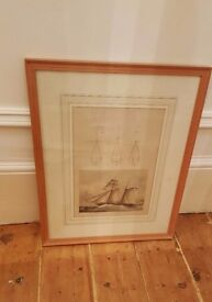 antique picture of ships and rigging in solid oak frame