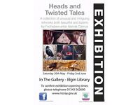 """""""Heads and Twisted Tales"""" Artwork by Alanda Calmus, Solo Exhibition in The Gallery at Elgin Library"""