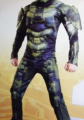Boys Halo MASTER CHIEF Halloween Costume Jumpsuit Outfit Purim Small 4 6 NEW](Halo Master Chief Outfit)