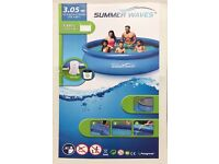 Summer Waves 10ft (3.05 m) Quick Set Ring Pool + Water Filter Pump + Cover