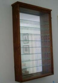 """HANDMADE WOODEN WALL DISPLAY CABINET MIRROR BACK, GLASS FRONTED (1 of """"0."""