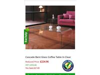 Heavy curved glass coffee table