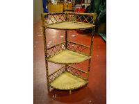 Vintage Bamboo Corner Shelves