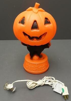 """Vintage Halloween JACK-O-LANTERN 14"""" Blow Mold Black Cat Skeletons w/ Light"""