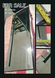 Modern Wall Mirror with Beveled Mirrored Frame