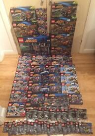 Collection of brand new discontinued Lego Batman and Lego Superman Superheroes DC comics sets