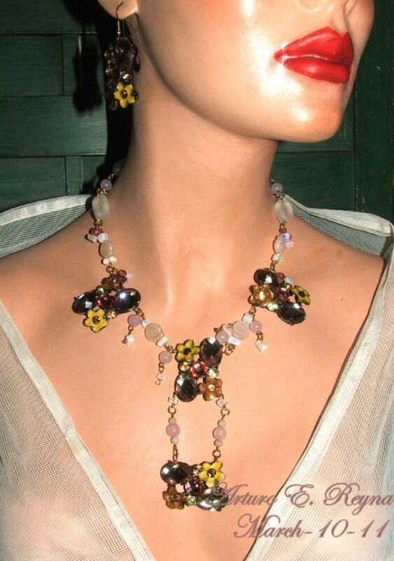 Motif Glass Beads Gemstone Rhinestone Necklace Set