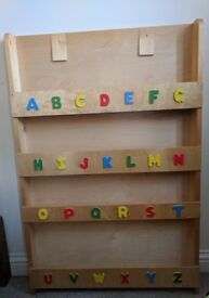 Childrens wooden bookcase Tidy book shelf with alphabet