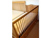 Cot bed / toddler bed and mattress, solid wood, ideal for co-sleeping or freestanding, with storage