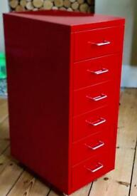 Ikea helmer red metal drawers 2 available