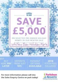 ***WHITLEY BAY HOLIDAY PARK WINTER SALE NOW ON*** SAVE THOUSANDS ON SELECTED CARAVANS INCL FEES