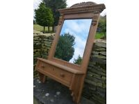 Old pine mirror with drawer