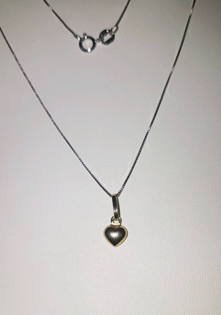 9ct White Gold & 8ct Yellow Gold Necklace & Charm Puffy Heart 18
