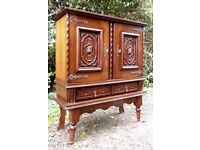 Flemish Gothic Oak Court Cupboard, Medieval Style Carved Gargoyles, Monks with Keys