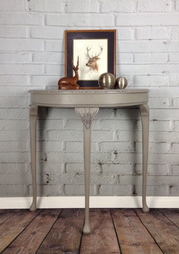 Superior Half Moon Vintage Hall Table/Console Hand Painted Annie Sloan/Shabby Chic