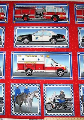 Emergency Heros On Parade Police Car Fire Truck Engine Motorcycle Fabric 23 Pnl