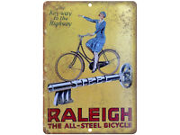 "The Raleigh Bicycle Vintage Ad 10/"" x 7/"" Reproduction Metal Sign B338"