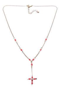 Cristal-Rojo-Rubi-amp-Tradicional-Clasico-Cross-amp-Ajustable-Collar-Zx138