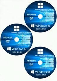 Windows 10 8 7 Vista recovery disc rescue disc tool 32bit 64bit antivirus password