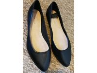 NEW Black Real Leather Flat Pump Shoes [Size 6] NEVER WORN