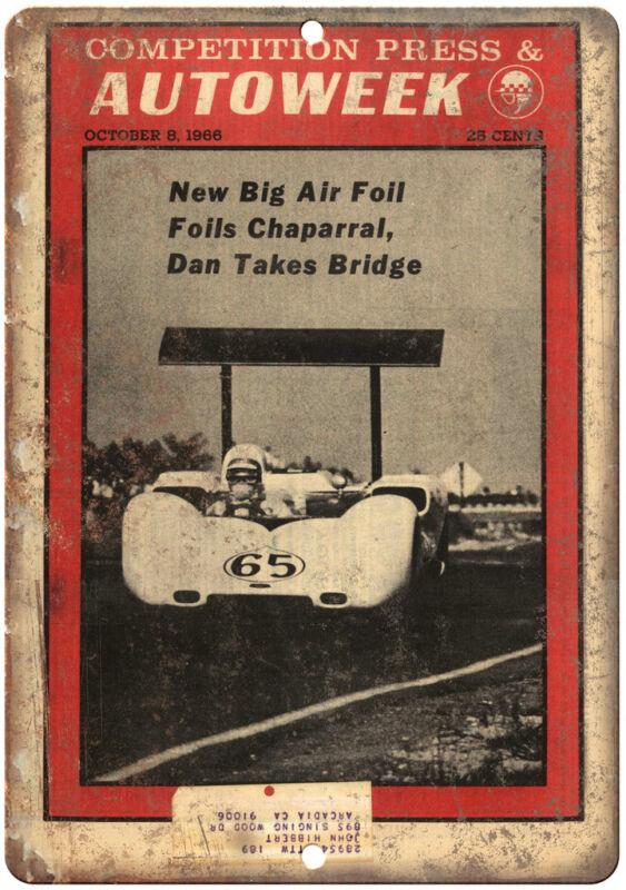 "1966 Autoweek Race Car Ad 12"" X 9"" Retro Look Metal Sign A665"
