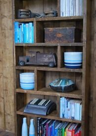ZIG ZAG PIGEON HOLES free delivery character salvaged solid wood bookcase display England gplanera