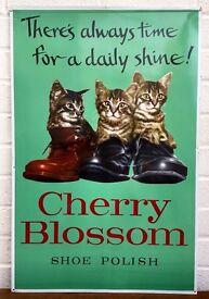 SUPERB -CHERRY BLOSSOM SHOE POLISH- SHOP DISPLAY TIN ADVERTISING SIGN not ENAMEL