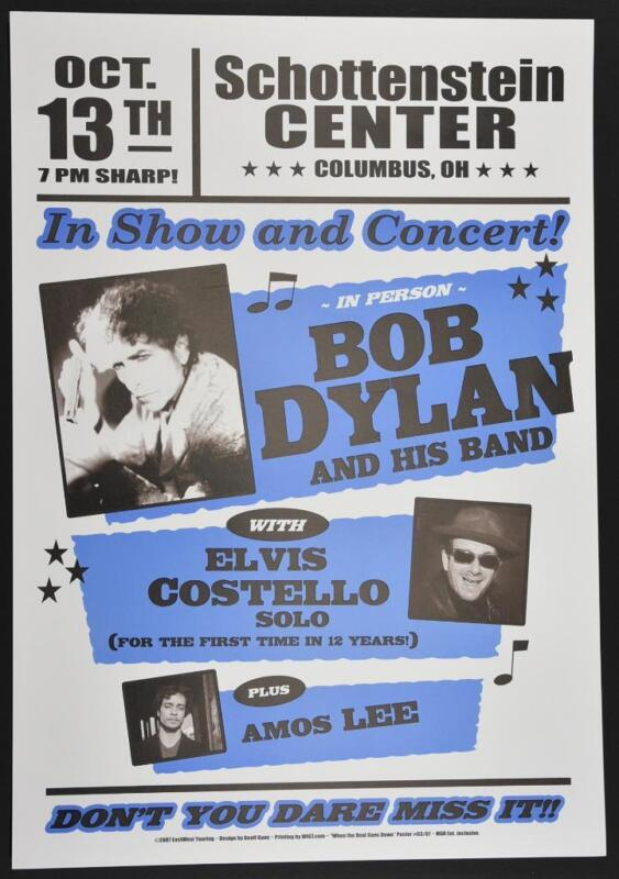 Bob Dylan Litho Concert Poster 2007 Columbus Ohio Elvis Costello Blue Version