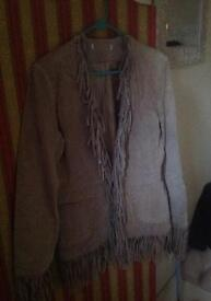 Real suede tassel / fringed ladies jacket