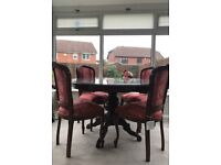 Vintage mahogany styled circle dining table and chairs